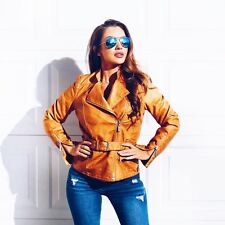 Belted Vegan Leather Biker Jacket - Mustard Yellow