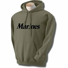 MARINES USMC HOODED HOODIE HOODY SWEATSHIRT MILITARY GREEN