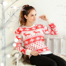 Womens Cute Reindeer Snowflake Fair isle Nordic Christmas Jumper BLACK FRIDAY