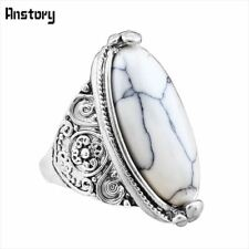 Flower Tail Oval Natural Stone Bead Rings Vintage Look Antique Silver Plated Per