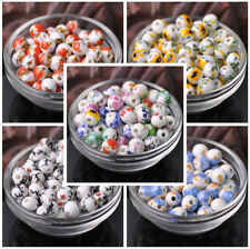 10pcs 10mm Flowers Ceramic Porcelain Loose Spacer Craft Beads Jewelry Findings
