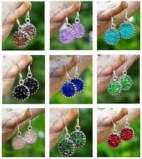 Eco Friendly~Sterling Silver/Recycled Vintage Glass~Druzy Glass Pierced Earrings
