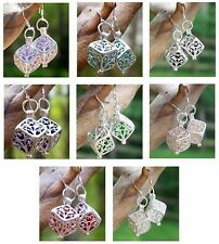 Eco Friendly ~ Recycled Vintage Glass ~ Silver Filigree Box  Pierced Earrings