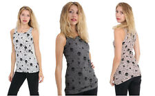 Womens Ladies Sleeveless Skull Halloween Print Ladies Shirt Cami Racer Vest Top