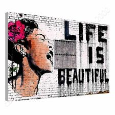 CANVAS (Rolled) Life Is Beautiful Banksy Painting Oil Paint Oil Paints