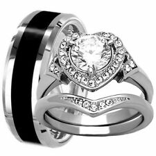His Hers Wedding Set Tungsten Black Band & Stainless Steel Halo Engagement Rings