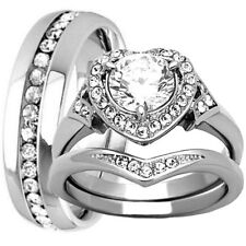 His Hers Stainless Steel Heart Halo CZ Engagement Ring Wedding Eternity Band Set