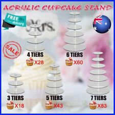 3/4/5/6/7 Tier Clear Acrylic Round Cake Cupcake Stand Wedding Birthday Party RO