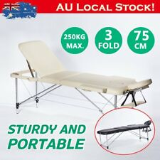 Portable Aluminium Massage Table 3 Fold Beauty Therapy Bed Chair Waxing 75cm RO