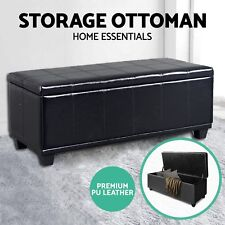 Blanket Box Storage Ottoman PU Leather Fabric Chest Toy Clothes Foot Stool Bed P