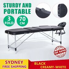 Massage Table Portable Aluminium 3 Fold Bed Therapy Chair Waxing 70cm AUSTOCK RO