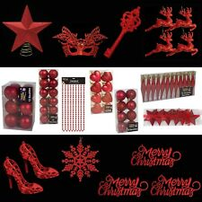 Red Christmas Tree Decorations – Baubles Hearts Cones Beads Hooks