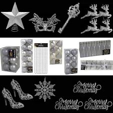 Silver Christmas Tree Decorations – Baubles Hearts Cones Beads Hooks