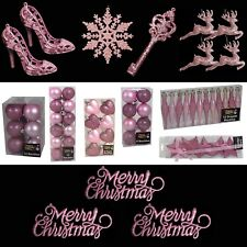 Pink Christmas Tree Decorations – Baubles Hearts Cones Beads Hooks