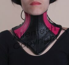 Real Cow Leather Under Chin Neck Corset Posture Collar  Black and Pink S-XL