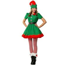 Women Santa Claus Helper Costume Christmas Season Green Holiday Elf Cute Outfit