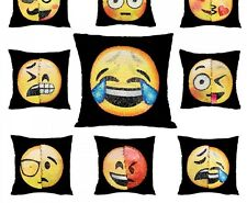 Emoji Cushion Covers Funny Changing Smiley Faces Reversible Outlet Pillow Case