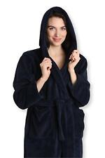 Ladies Robe with Hood Plush Fleece Kimono Wrap Spa Bathrobe Warm Bath Shower