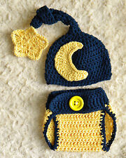 Navy Blue Moon & Star crochet baby Photo Prop Hat & Diaper Cover Set 100% Cotton