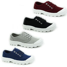 WOMENS LADIES PLATFORM CHUNKY SOLE LACE UP CANVAS PUMPS PLIMSOLLS SHOES SIZE 3-8
