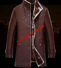 mens thick stand collar warm coat winter outwear fleece  slim fashion Jacket new