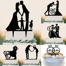 Sweet Black Acrylic Cake Topper Groom Bride Mr Mrs Wedding Engagement Decoration