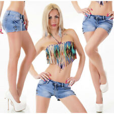 Womens Denim Hot Pants New Mini Blue Washed Shorts Sexy Low Rise Size 8 10 12 14