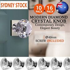 10/16PC 40mm Diamond Clear Crystal Glass Door Pull Drawer Knob Handle Cabinet OZ