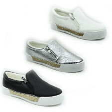 WOMENS LADIES FLAT SLIP ON CHUNKY SOLE PUMPS SNEAKERS TRAINERS SHOES SIZE 3-8