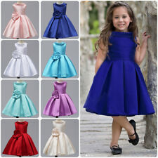 Flower Kids Girls Bowknot Dress Wedding Pageant Party Backless Pearls Tutu Gown