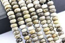 "Silver Leaf Jasper Smooth Rondelle Gemstone Loose Beads 4x6/5x8mm 15.5"" Long"