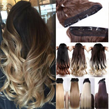 One Piece Clip in on Ombre Hair Extensions Synthetic Straight Curly Wavy Xmas US
