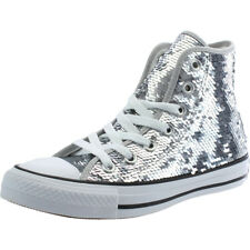 Converse Chuck Taylor All Star Sequin Hi Silver Textile Trainers Shoes