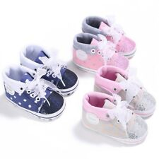 Baby Boys Girls Lace Up Canvas Soft Sole Crib Shoes Non-slip Sneakers Prewalker