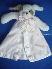 Bearington Baby Puppy Dog Pink Brown Polka Dots Satin Lovey Security Blanket