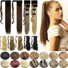 100% Real New Clip In Real human Hair Extensions Wrap Around Ponytail Synthetic