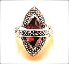 (SIZE 6,7,8,9) LARGE MARQUISE GARNET STONE RING .925 Marcasite STERLING SILVER