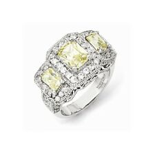 Cheryl M Sterling Silver Canary & White CZ 3-stone Ring