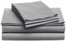 AU Bedding Collection All Size 100% Egyptian Cotton 1000 TC Light Grey Solid