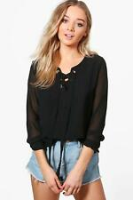 NEW Boohoo Womens Mila Lace Up Long Sleeve Blouse in Polyester