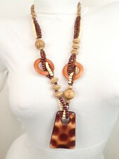 "New Brown Coconut Shell Wood Beads 28"" Long Necklace Pendant"