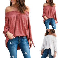 UK Womens Fashion T Shirt Long Sleeve Off Shoulder Blouse Ladies Casual Tee Tops