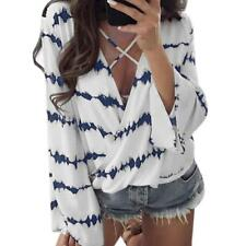 Women Loose Long Sleeve Shirt Stripe Tops Overlapping Chiffon Casual Blouse