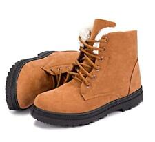 NEW- WOMEN'S- WINTER SNOW- HEEL- ANKLE BOOTS- SHOES- NON SKID- BROWN- LEATHER