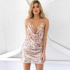 Women Backless Deep V Neck Sequin Decorated Party Wear Mini Bodycon Dress