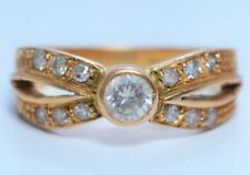 AMAZING ESTATE 18k Yellow Gold and 0.54 CT Diamond Engagement Cluster Ring 4.7