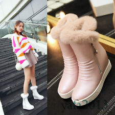 Women Rabbit Fur Winter Snow Boots Wedge Round Toe Ankle Boots Fashion Sneakers