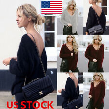 Women Deep V Knitted Oversized Sweater Backless Pullover Warm Jumper Tops Blouse