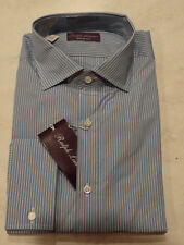 NWT Ralph Lauren Purple Label Blue/White Stripe Dress Shirt 15.5-17.5 $395 Italy