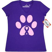 Inktastic Paw Print Pink Ribbon Women's V-Neck T-Shirt Cure Breast Cancer Tees